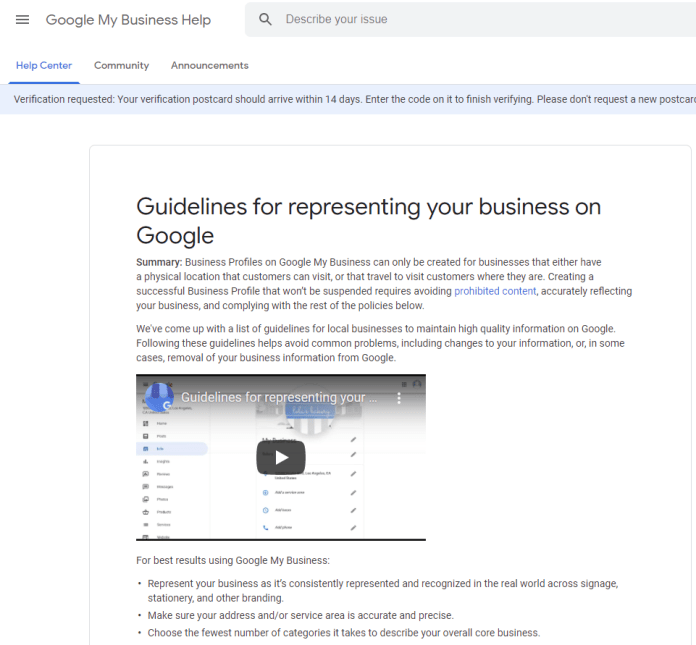 Guidelines for Representing Your Business On Google.