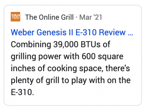 Review card on The Online Grill.