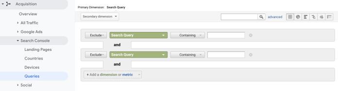Screenshot of google analytics filter.