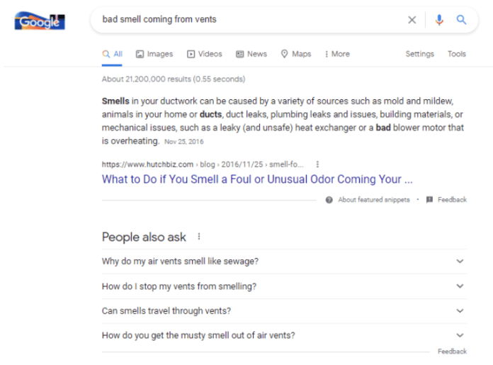 search results - bad smell coming from vents