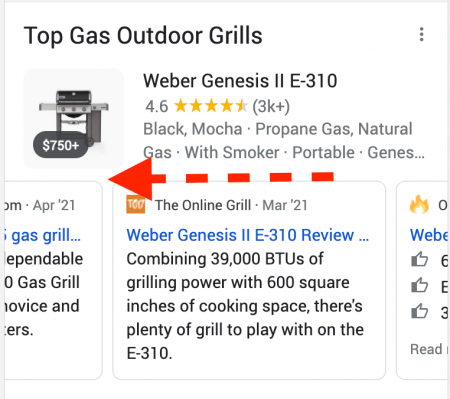 Reviews are available on the Top Products Carousel on mobile.