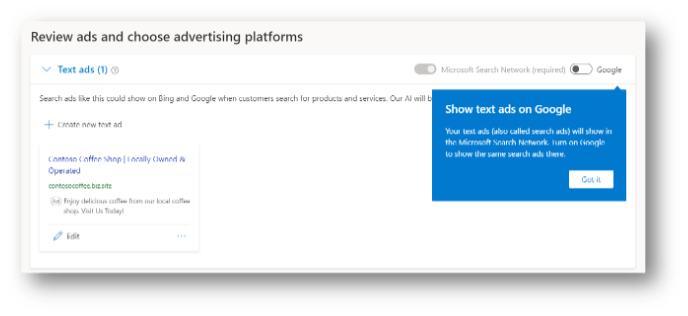 unified campaigns step 3 confirm ads