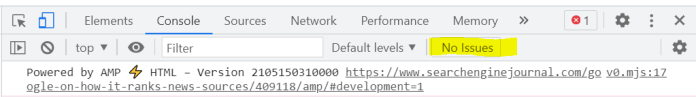 Chrome dev tools no issue found for AMP validation.