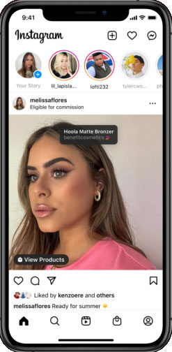 Screenshot of an Instagram post with affiliate links