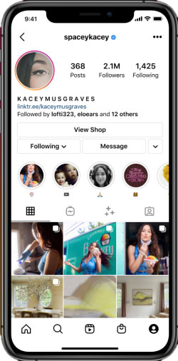 Screenshot of Instagram profile with link to a shop
