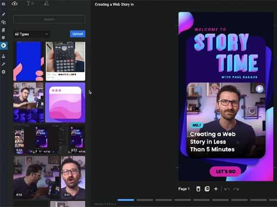 Screenshot of a web stories visual editor
