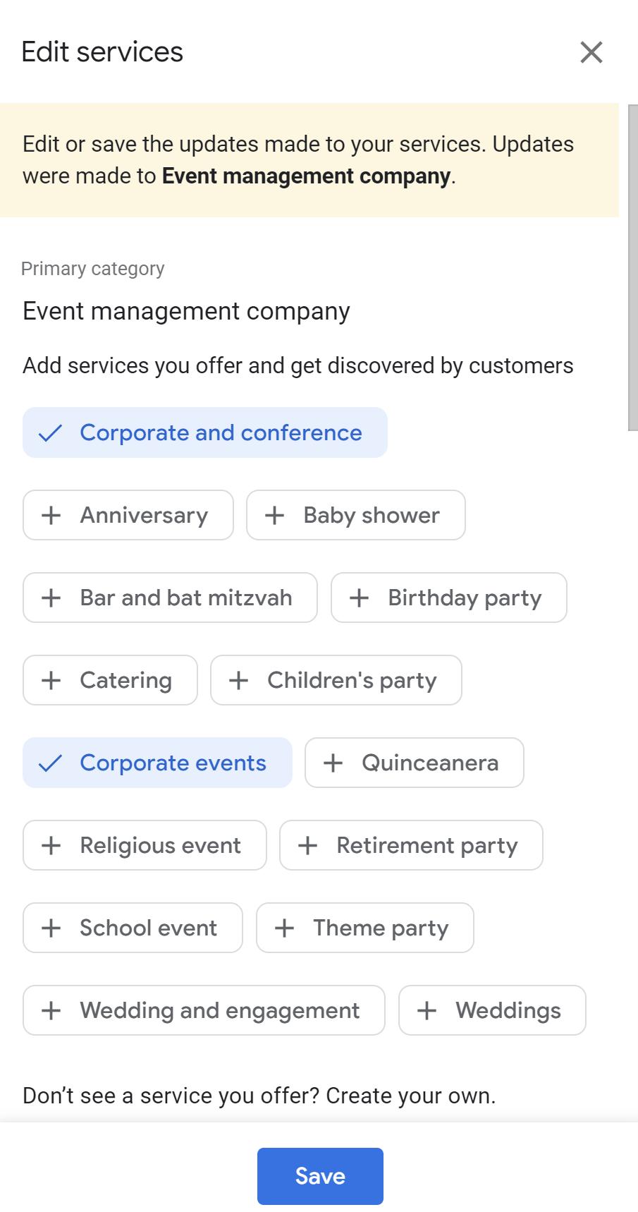 Edit Services List.