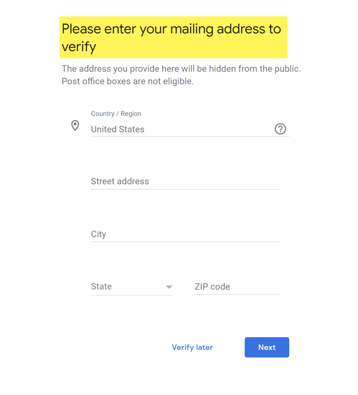 Enter a valid address to get PIN postcard.