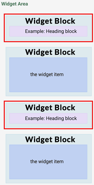 Screenshot of example showing how the WordPress widget block was broken