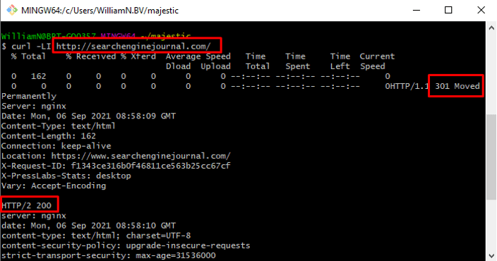 Curl command head follow redirects.