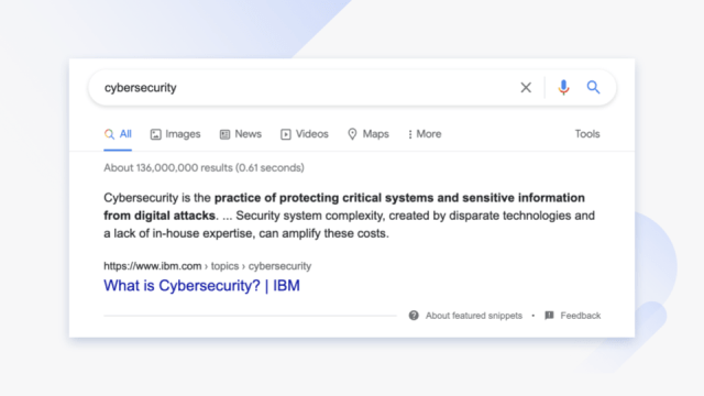 Google search for cybersecurity.
