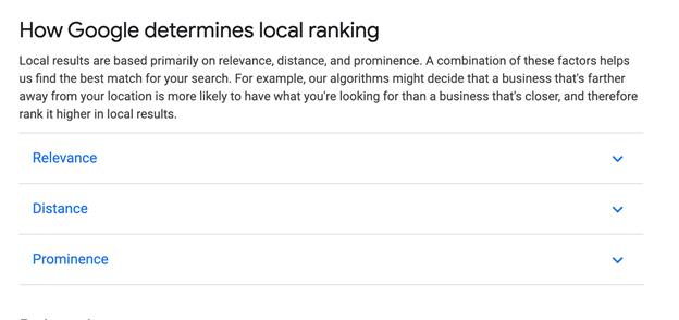 How Google determines local ranking.