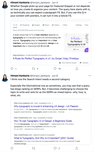 Twitter thread about search intent behind the query.