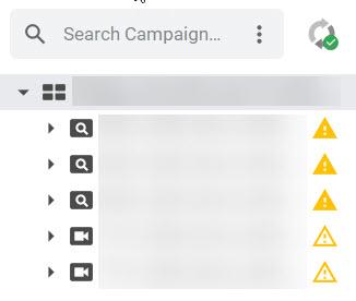 Google Ads Editor left navigation showing campaign type.