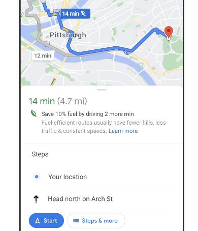 google maps eco friendly
