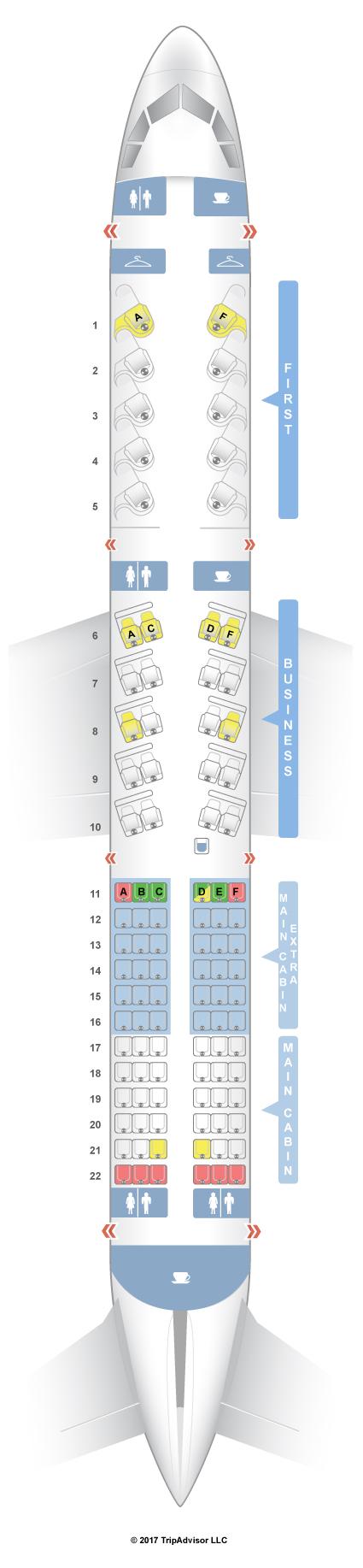 Seatguru Seat Map American Airlines Airbus A321 32b Transcon