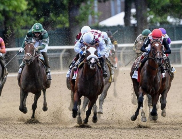 Manuel Franco riding Tiz The Law at the Belmont Stakes. Photo: NYRA