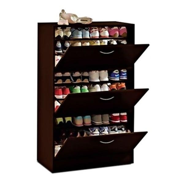 three door big foot shoe cabinet brown