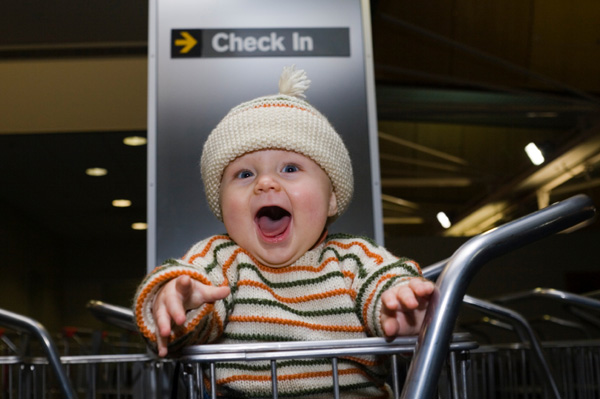 baby in air port