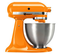 tangerine-hued KitchenAid mixer