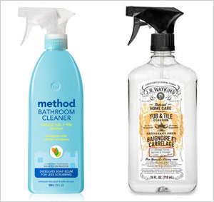 Green bathroom cleaning supplies