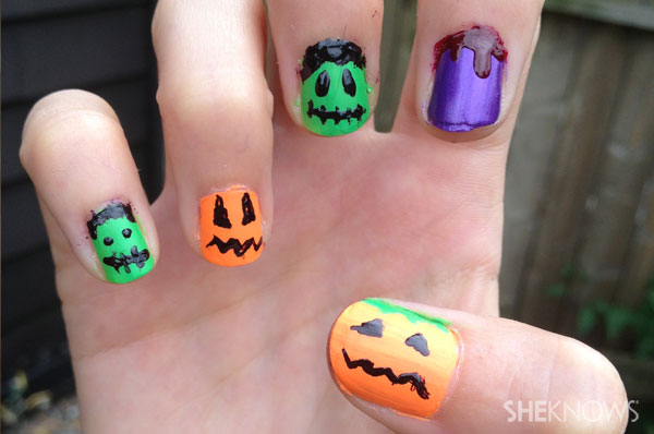 Jack o'pattern halloween nail art | Sheknows.ca - final product