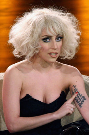 Singer Lady Gaga has several tattoos, including this one on the inside of