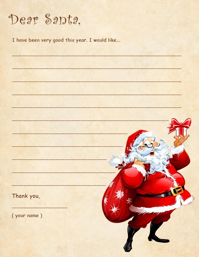 Dear Santa Template two pretzels form letter how to write a – Santa List Template Printable