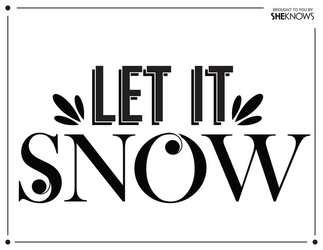 Let It Snow Wall Stencil Black Free Printable Coloring Pages