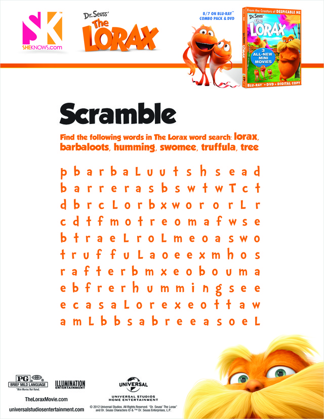 the lorax word search free printable coloring pages