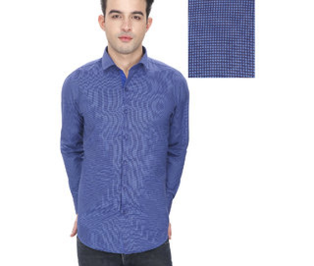 Enf Mens Printed Casual Blue Shirt