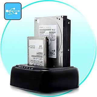 USB 3.0 Dual 2.5-3.5 SATA Hard Disk HDD/SSD Docking Station + Drive Copy