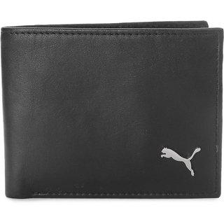 Puma Black Pure Leather Bi-fold Wallet for Mens
