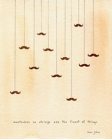 Mustaches on strings - Signed Print