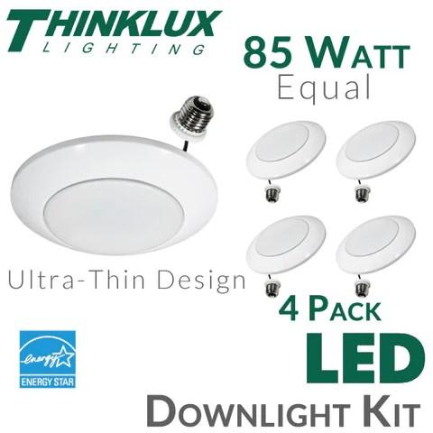 thinklux ultra thin disk led recessed downlight kit 13 watt 85 watt equal dimmable 4 pack