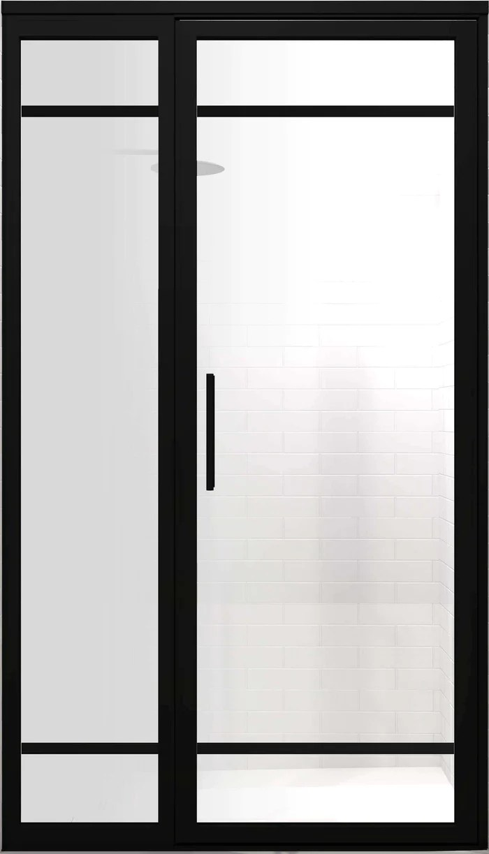 Black Frame Hinged Shower Doors With Grids Gridscape By