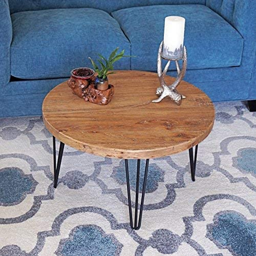 rustic round old elm wooden coffee table unfinished