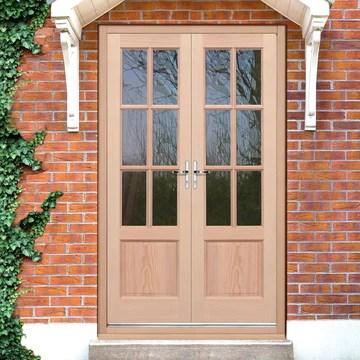 exterior hemlock gtp 2 panel door pair fit your own glass