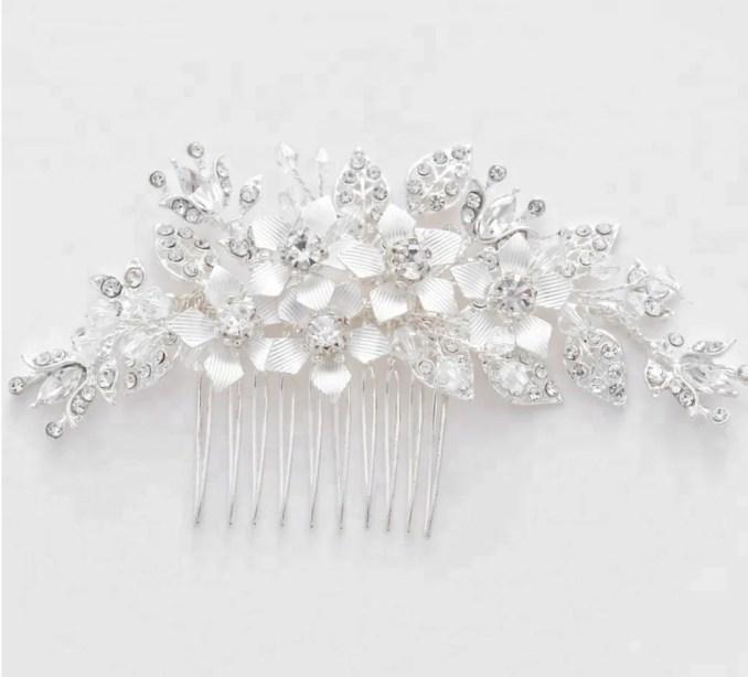 wedding , silver , handmade ,crystal , rhinestone , hair comb, silver leaf flower ,bridal hair accessories , hair accessories, bride , comb