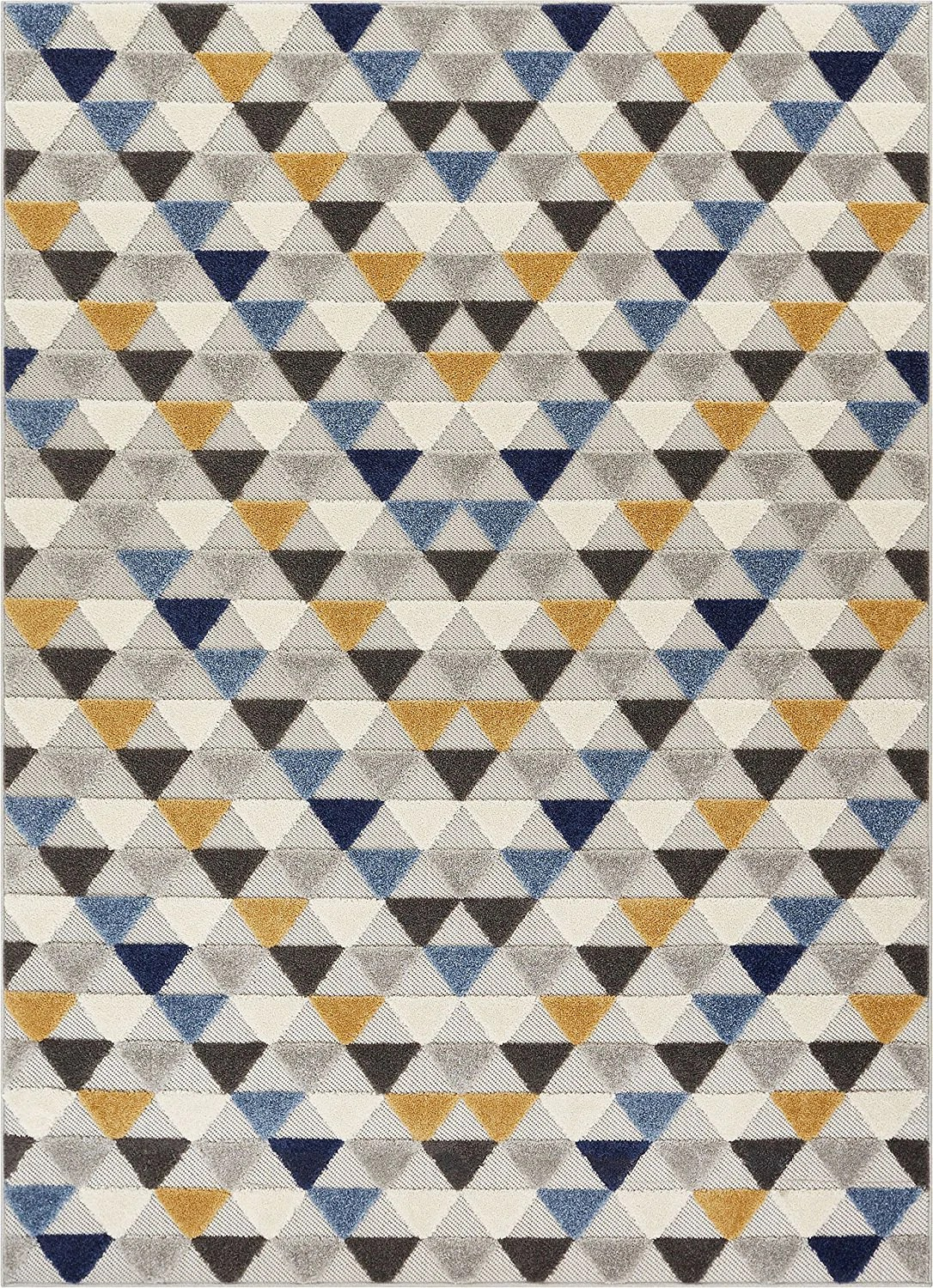 Geometric Triangles Blue Yellow High Traffic Stain Resistant Indoor Ou Modern Rugs And Decor