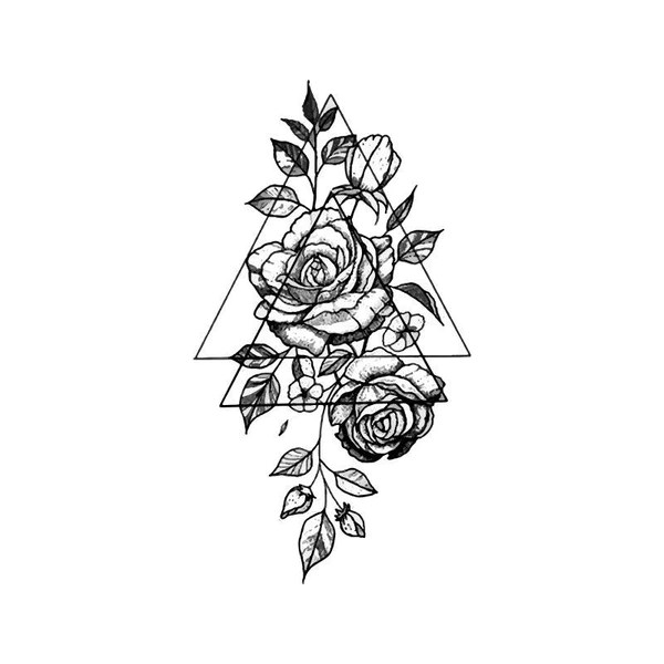 Roses Realistic Colorful Abstract Triangles