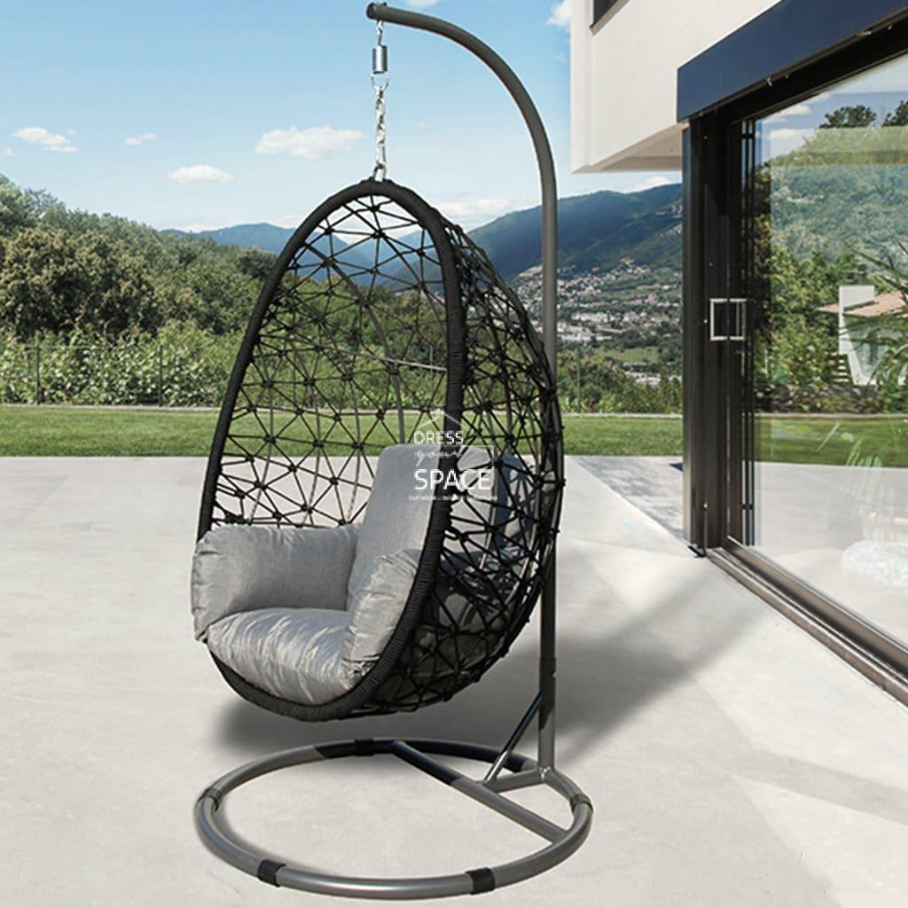 turin rope egg chair black
