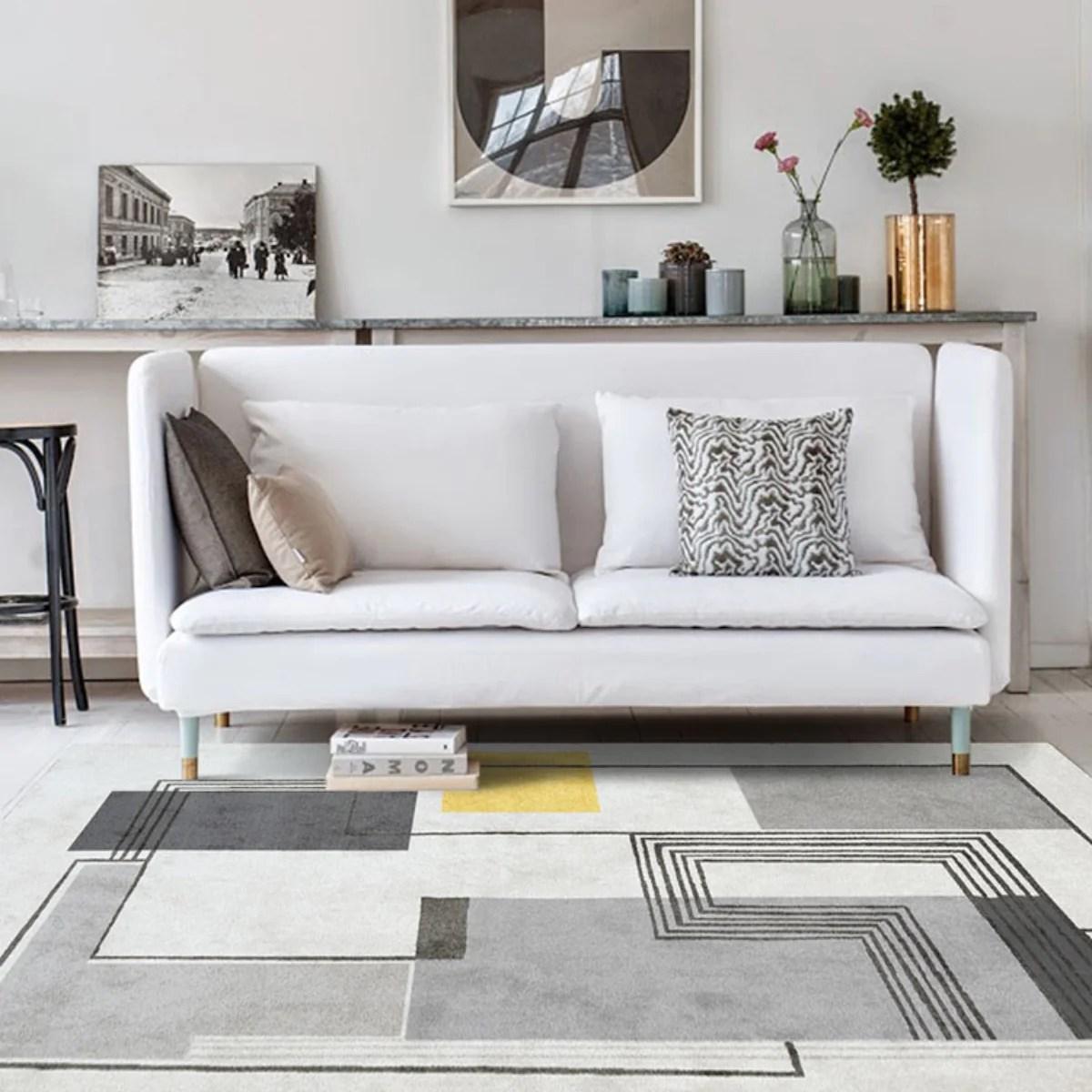 Yalos Modern Grey And Yellow Area Rug