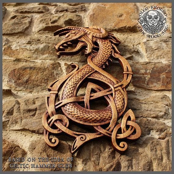 Fenrir Wolf Norse Dragon Fine Wood Carving Ancient Treasures