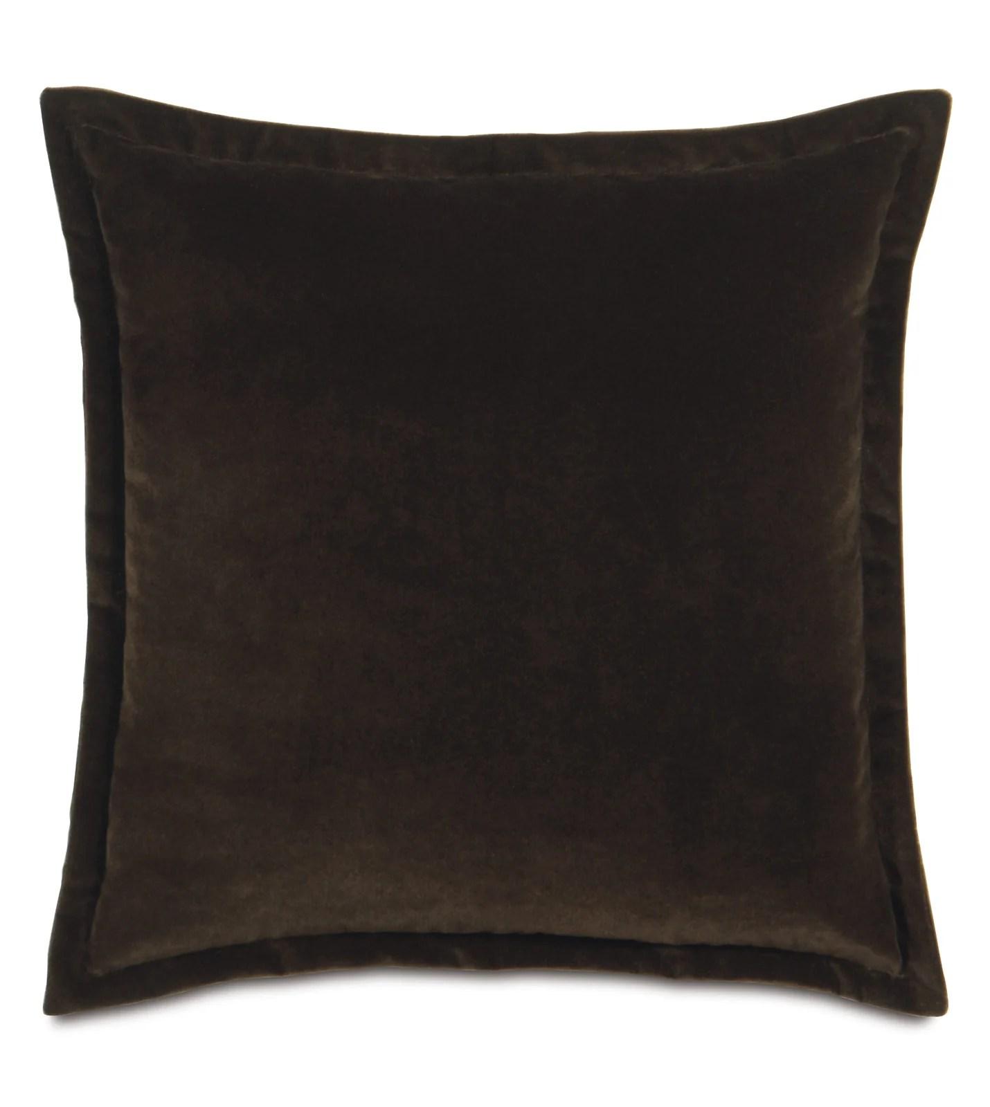 dark brown velvet throw pillow self flange