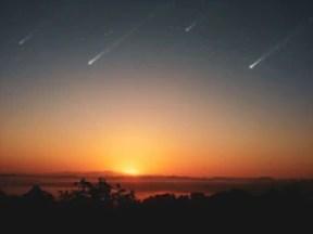 estrelas cadentes no por do sol