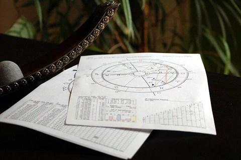 estudos astrológicos em um papel sob mesa ilustrando matéria de astronomia e astrologia