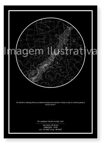 imagem do poster preto do mapa do meu céu personalizado para casamento