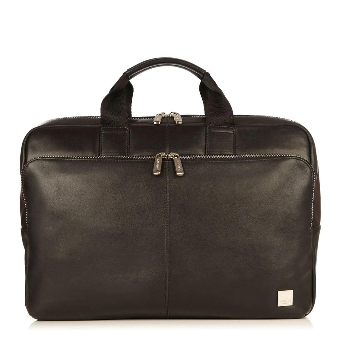 58266b6b30bc KNOMO Black Newbury Leather Laptop Briefcase – 15″ KNOMO® – Knomo – $329.00