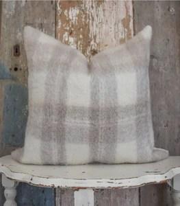 neutral plaid mohair pillow cover